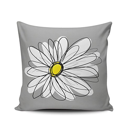 SALLEING Custom Fashion Home Decor Pillowcase Grey and White Trendy Daisy With Gray and Yellow European Square Throw Pillow Cover Cushion Case 26x26 Inches One Sided Print