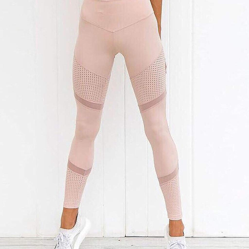 Women Sports Pants,Jchen Women High Waisted Slim Solid Color Mesh Leggings Stretchy Ankle Length Yoga Pants