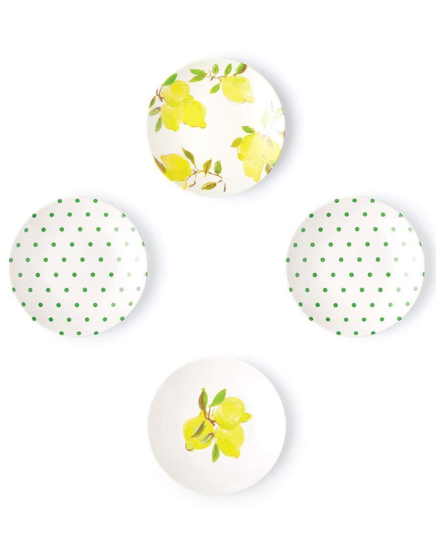 Kate Spade New York 176830 Lemon Melamine Tidbit Plates, Bright Yellow