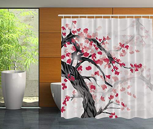 Ambesonne Japanese Bathroom Decor Plum Tree and Cherry Flowers Garden, Polyester Fabric Bathroom Shower Curtain Set with Hooks
