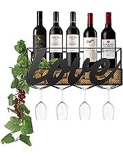 Nuovoware Wall Mounted Metal Wine Racks, 4 Long Stem Wine Glass Holder & Wine Cork Storage, Wall Deco Display Rack for Home, Room, Living Room, Kitchen - Black