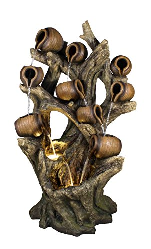 Hi-Line Gift Ltd Fountain-Multi Jugs Pouring on Tree Trunk with 2 LED Lights, Multi by Hi-Line Gift Ltd.