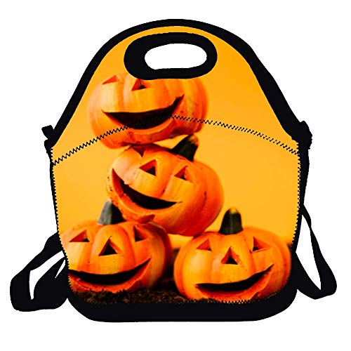 (Lunch Bags Lunch Tote Lunch Box Decoration with Laughing Pumpkins Handbag for Kids And Adults)
