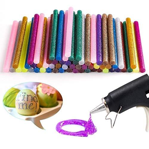 SANGNI 60Pcs Sparkling Hot Melt Multi-Colored Glue Sticks for DIY Craft,Use with High Temperature Mini Glue Gun,Ideal for Art Craft, Basic Repairs,Non-Toxic High Strength Anti-Aging Glue Sticks (red) ()