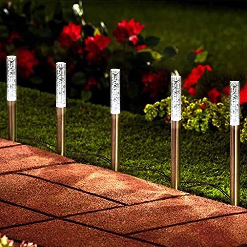 (☀ Dergo ☀ LED Bubble Solar Tube Stake Lights Garden Stick Lights One For Five 5LED)
