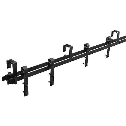 WINSOON - Kit de montaje de puerta corredera doble para bypass o barniz, color negro
