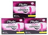 3 Pk. Playtex Sport Regular Absorbency Compact Tampons 36 Count (108 Total)