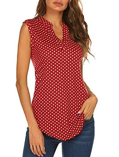 - Blouses for Juniors, Women's V Neck Sleeveless Polka Dot Tops Fashion Summer Blouse Shirt Tops for Business Work Red S