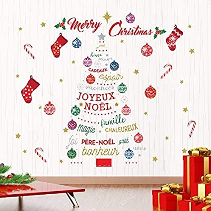 Christmas In French.Christmas Decorations Wall Stickers Merry Christmas French Quotes Christmas Tree Wall Murals Decals Living Room Children Nursery School Restaurant