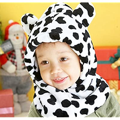 Winter warm bear modeling baby hats lovely Boys and girls hoodies Scarf wool baby hats milk cow