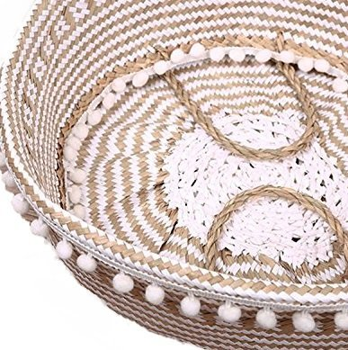 Hands Craft Large Natural and White Woven Seagrass Belly Basket Criss-Cross Tote with Small pom pom
