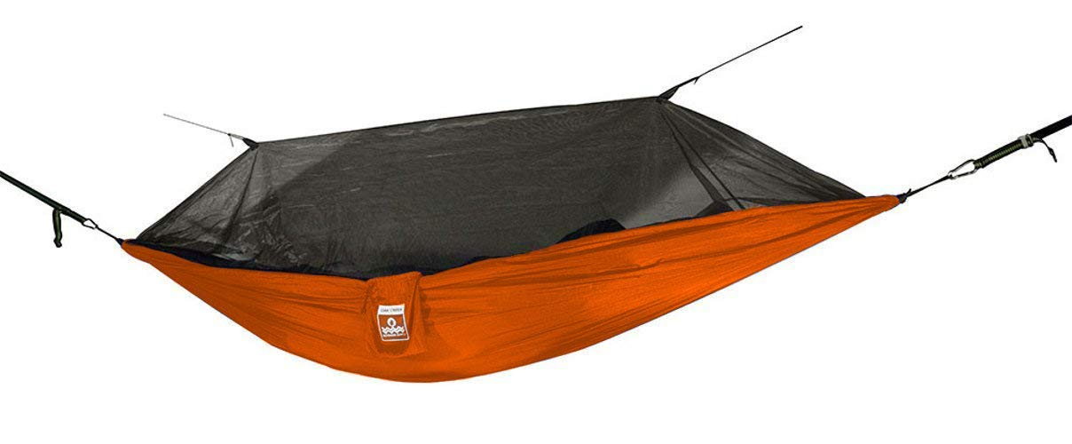 Lost Valley Camping Hammock Orange and Gray Bundle Includes Mosquito Net, Rain Fly, Tree Straps, Compression Sack Weighs 4 Pounds, Perfect for Hammock Camping Lightweight Nylon Single Hammock