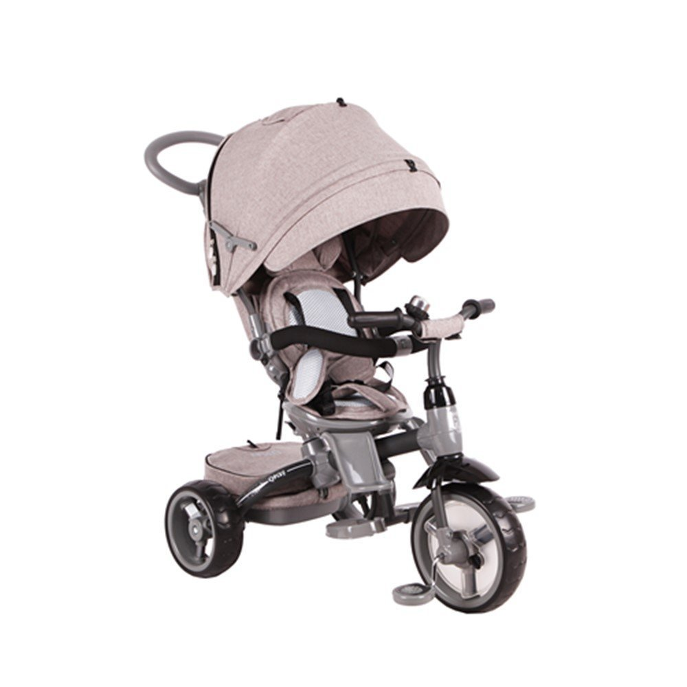 Qplay 6-in-1 Deluxe Baby Stroller Tricycle with One Button Rotating Seat Function for Interaction with Parents Push Bar Storage Bag Included (GRAY)