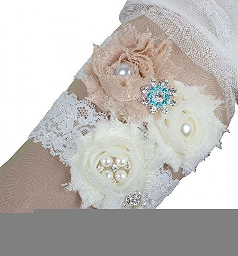 Miranda's Bridal Women's Floral Bridal Garters Wedding Garters Champagne