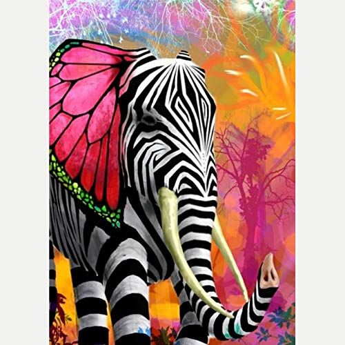 LemTea 5D Diamond Painting Kits Full Drill Zebra Dressed Elephant Diamond Embroidery Stitch Craft Canvas Wall Decor ()