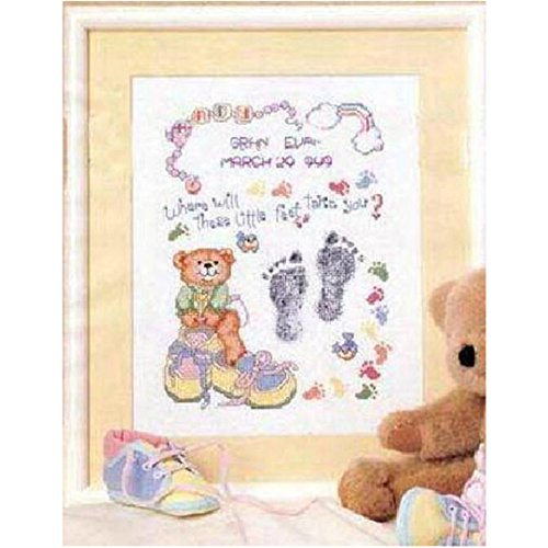 Kuwoolf Needlework Embroidery Cross Stitch Kits 14ct Counted Pattern Cotton Thread Cartoon Footprint Bear Baby Record Birth Certificate (Birth Certificates Records)