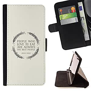 Ihec-Tech / Negro Flip PU Cuero Cover Case para Samsung Galaxy S4 IV I9500 - Manger Quote Gris Wreath