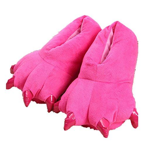 Japsom Unisex Accogliente Flanella Casa Mostro Pantofole Halloween Animale Costume Zampa Artiglio Scarpe Rosee