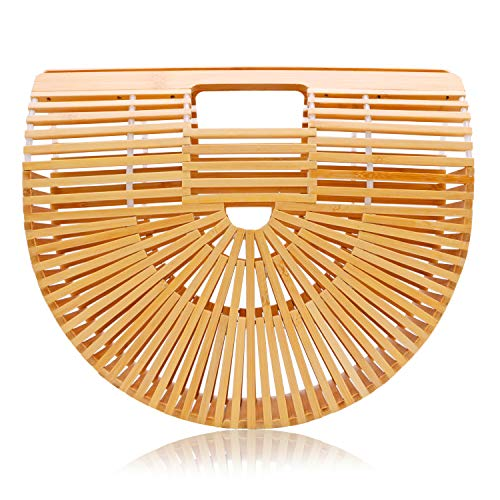 Summer Bamboo Handbag for Women Handmade Tote Bag Beach Purse Straw Bag Ark bag (Transparent thread)