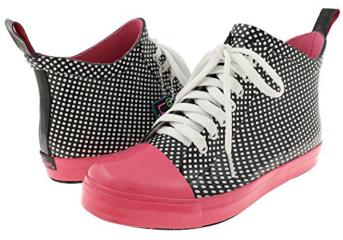 La Gear Shiny La Dots Lace Up Sneaker Body Regenlaarzen Zwarte Combo