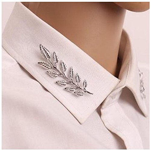 Brooch Double (MINGHUA Gentlemen Suit Brooches Simple Elegant Double Leaf Collar Pin Brooch Gold Silver Plant Brooch (Silver))