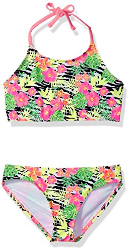 2 Piece Zebra Bikini - Freestyle Big Girls' Two Piece Zebra Bloom Bikini Swimsuit Set, Multi, 8