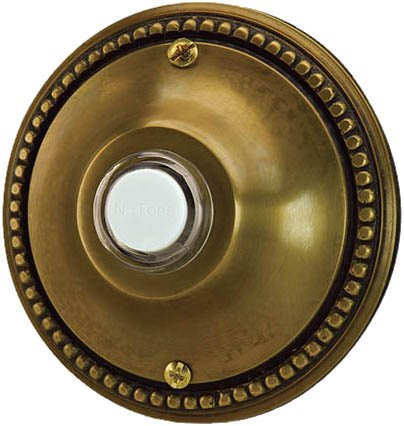 UPC 026715194308, NuTone NB4002AB Flush Mount Decorative Door Chime Push Button, Antique Brass