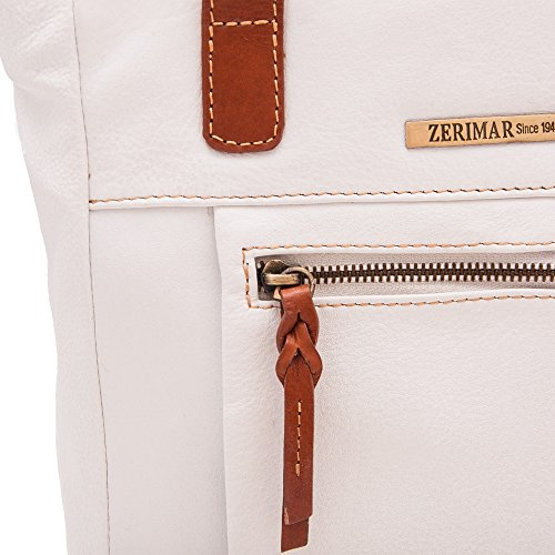 Zerimar Bolso Mujer   100% Piel Alta Calidad   Bolso Señora   Bolso de Mano   Bolso Grande   Bolso Pequeño   Múltiples compartimentos   Múltiples compartimentos   Medidas: 130 x 33 x 11 cms Blanco tan