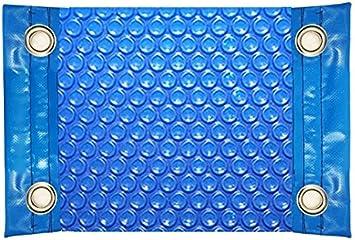 International Pool Protection Manta TÉRMICA (COBERTOR TÉRMICO-Cubierta ISOTÉRMICA-TOLDO para Piscina) DE 600 MICRAS ECONÓMICA con Refuerzo EN LOS Lados Estrechos + Ojales EN Acero Inoxidable (8x4m)