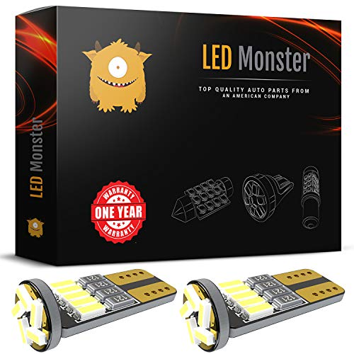 (LED Monster 2pcs T10 Wedge Best Value Super Bright High Power 3014 15-SMD 194 168 2825 W5W White LED Bulb Lamp for Car Truck Interior Dome Map Door Courtesy License Plate Lights)