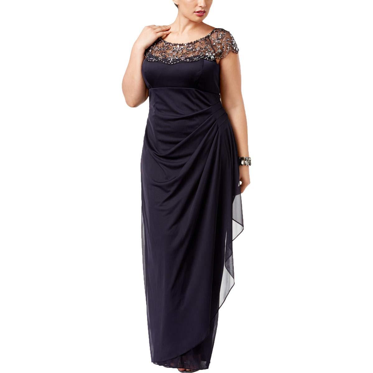 Charcoal Xscape Womens Plus Embellished Cap Sleeves SemiFormal Dress