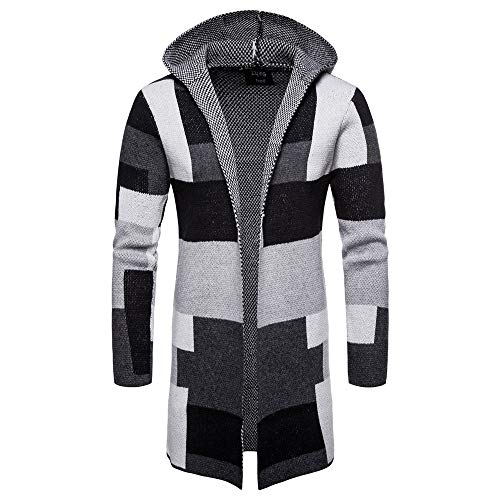 Realdo Mens Plaid Trench Cardigan Clearance Sale,Casual Business Solid Hooded Knit Patchwork Long Coat(X-Large,Grey)