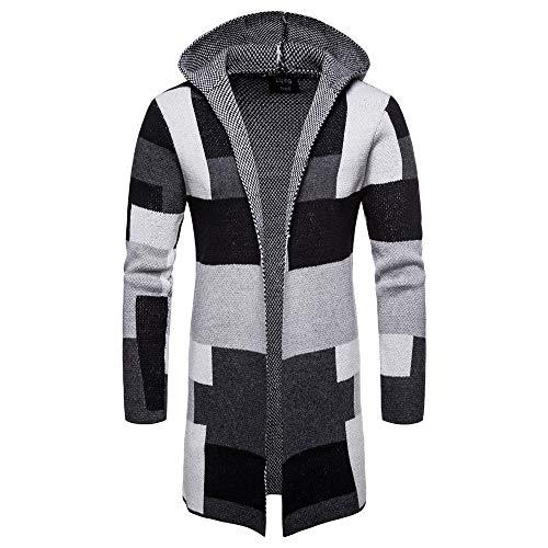 (MODOQO Men's Long Cardigan Hoodies Casual Patchwork Knitwear Jacket Coat Tops (Gray,L))