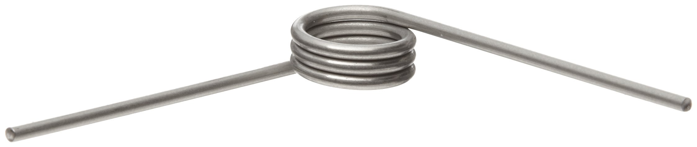 302 Stainless Steel Torsion Spring, Left Hand Wind Direction, 90° Deflection, 0.484'' OD, 0.054'' Wire Size, 2'' Leg Length, 0.296'' Mandrel Size, 0.31'' Min. Axial Space (Pack of 10)