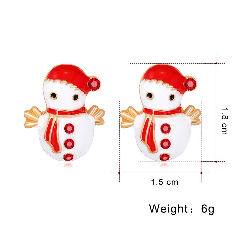 YAZILIND Red Rhinestone Snowman Christmas Stud Earrings Xmas Jewellery Gift Women Girls