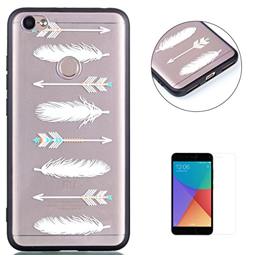 KaseHom XIAOMI Red NOTE 5A TPU Case with [Free Screen Protector] Crystal Clear Funny Animals Pattern Back Slim Silicone Anti-Scratch Durable Protective Cover Shell - Arrow Feather