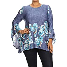 Womens Plus Size Floral Print With Kimono Sleeve Tunic Top MADE IN USA