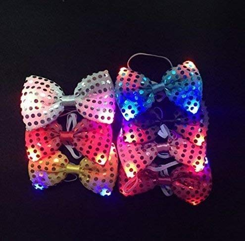 Gwill 10Pcs Flashing LED Colorful Luminous Neck Tie Fashion Bow Tie Party Halloween Wedding Supplies Dancing Stage Glowing Ties]()