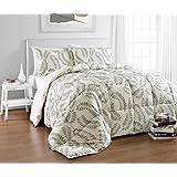 Cozy Beddings BH5023-Q Matisse Reversible Down Alternative Comforter Set, Queen, Green/Tan