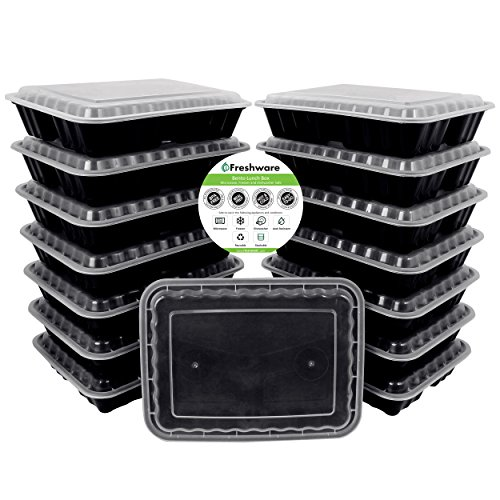 Freshware 15-Pack 3 Compartment Bento Lunch Boxes with Lids - Stackable, Reusable, Microwave, Dishwasher & Freezer Safe - Meal Prep, Portion Control, 21 Day Fix & Food Storage Containers (36oz)