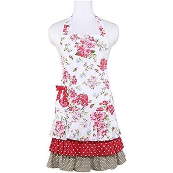 Neoviva Cotton Canvas Kitchen Apron For Women With Ruffles, Style Doris,  Floral Lollipop Red Part 83