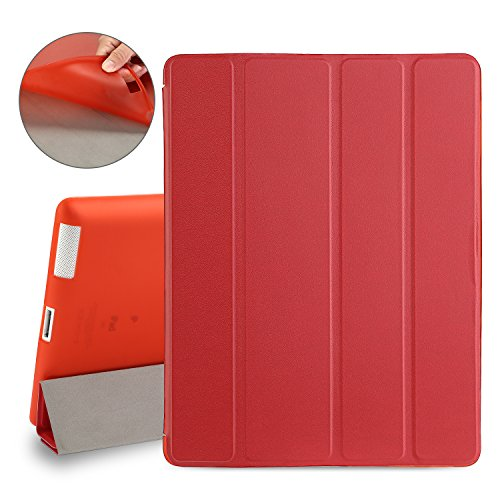 TKOOFN iPad 4 Case, iPad 3/2 Case, Smart Stand Cover with Auto Wake/Sleep Function Four Layer Drop Protection Soft TPU Back for iPad 2 / iPad 3 / iPad 4 (Red)