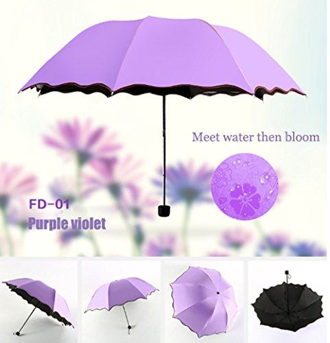 Travel Compact Umbrella For One Handed Operation, Met Water Begin Bloom Umbrella ,Windproof Sunscreen Handle for Easy Carrying For Womens Mens (Violet Purple) ()
