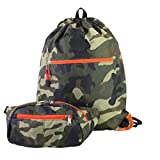 Cheap Eastsport Durable Sport Drawstring Bag with BONUS Belt Bag/Fanny Pack for camp, travel, hiking, cycling, gym (Army Camo)