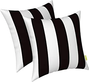 """LVTXIII Indoor Outdoor Pillow Covers, All Weather Patio Accent Square Toss Pillow Cushion Case 18"""" x 18"""" Pack of 2 for Sofa Couch Patio Furniture Decoration – Cabana Black"""