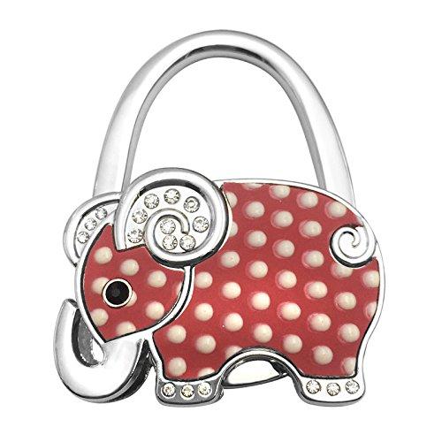 Reizteko Purse Hook, Cute Shining Elephant Foldable Handbag Purse Hanger Hook Holder for Tables (Red Dot)