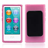 Lowpricenice For iPod Nano 7 7G 7th Gen,TPU Rubber Gel Soft Case Cover Belt Clip (Pink)