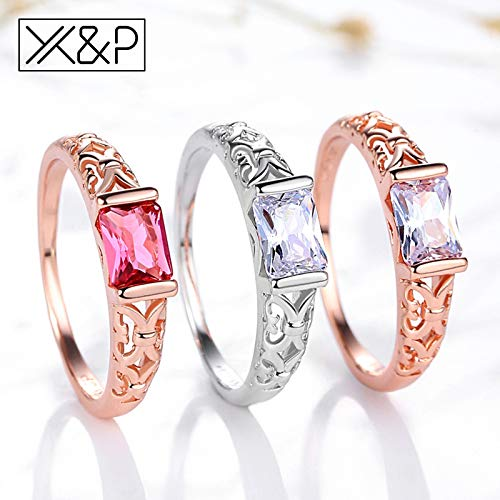 Amazon.com: JEWH Brand Unique Fashion Retro Engagement Red Crystal Rings for Women - Rose Gold/Silver Ring Jewelry Gift - Elegant Luxurious Design (Rose ...