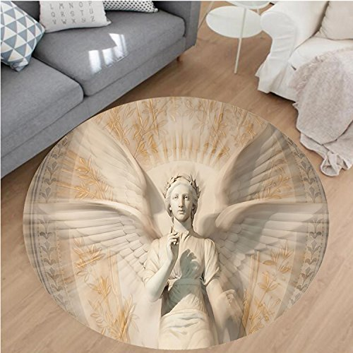 Nalahome Modern Flannel Microfiber Non-Slip Machine Washable Round Area Rug-Decor Statue Of Angel Woman in Medieval Holy Cathedral Vintage Style Myth Decoration Tan area rugs Home Decor-Round 71'' by Nalahome