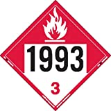 Labelmaster ZVR91993 UN 1993 Combustible Liquid Hazmat Placard, Removable Vinyl (Pack of 25)